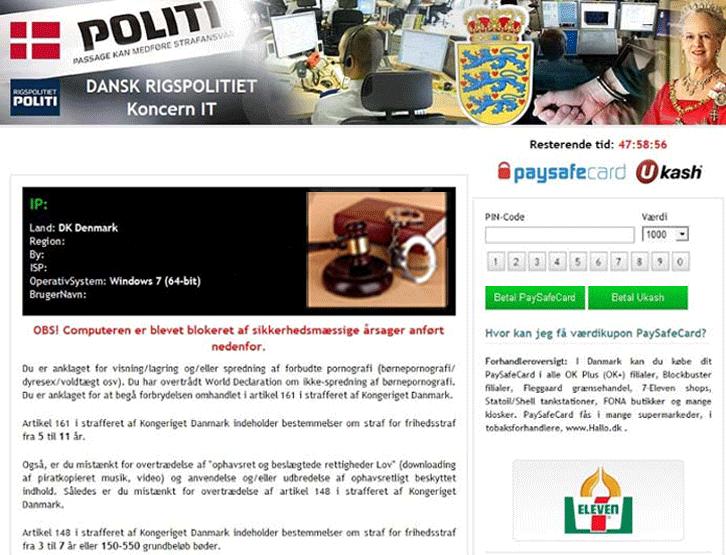 Dansk Rigspolitiet virus-