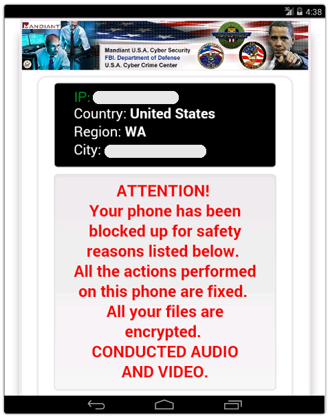 Police or FBI virus from Android phone