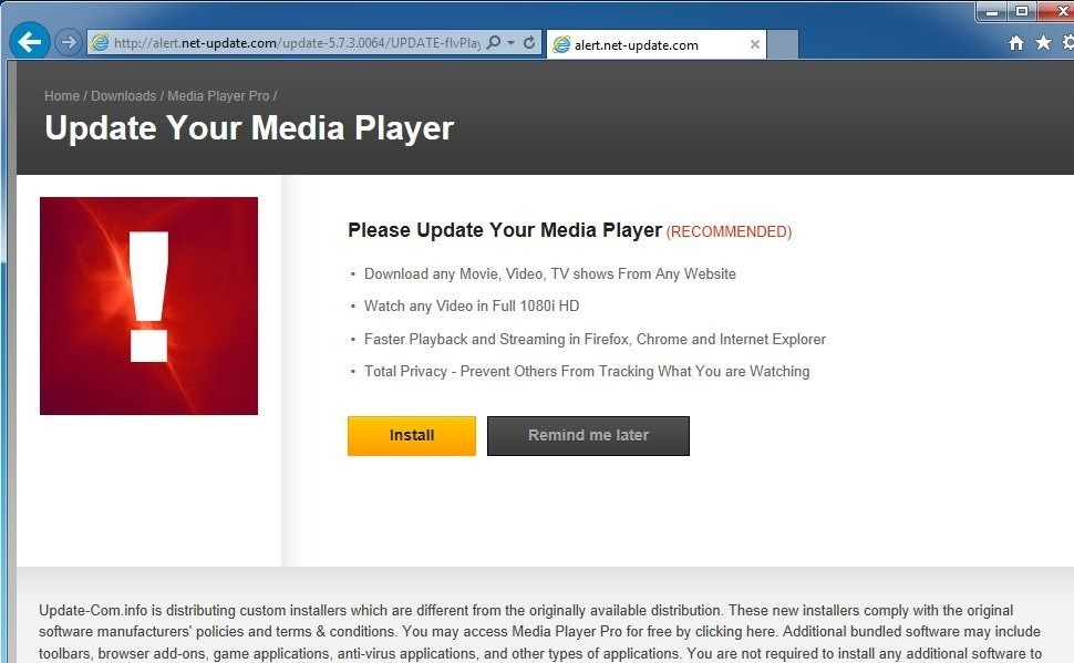 You need to update your media player pop-up-