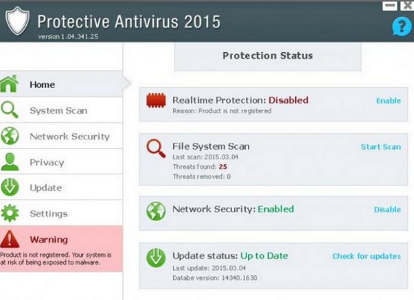 Protective Antivirus 2015 fake