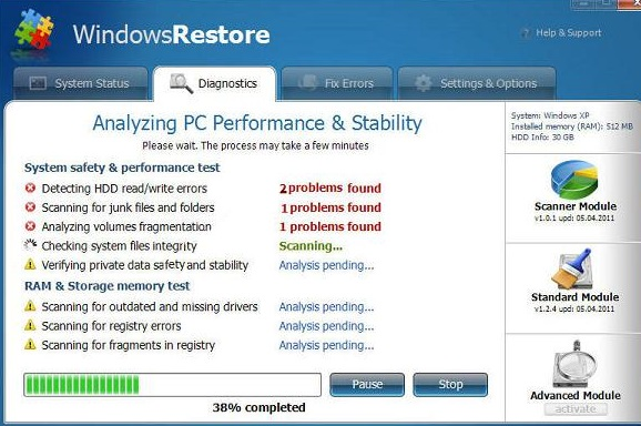 Supprimer Fake Windows Restore