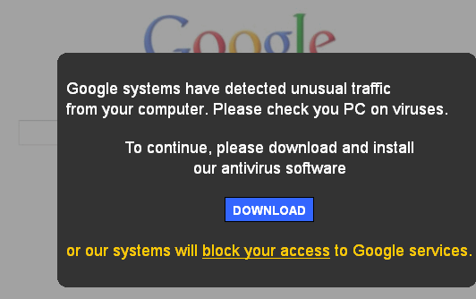 Fake Google Antivirus Alert-