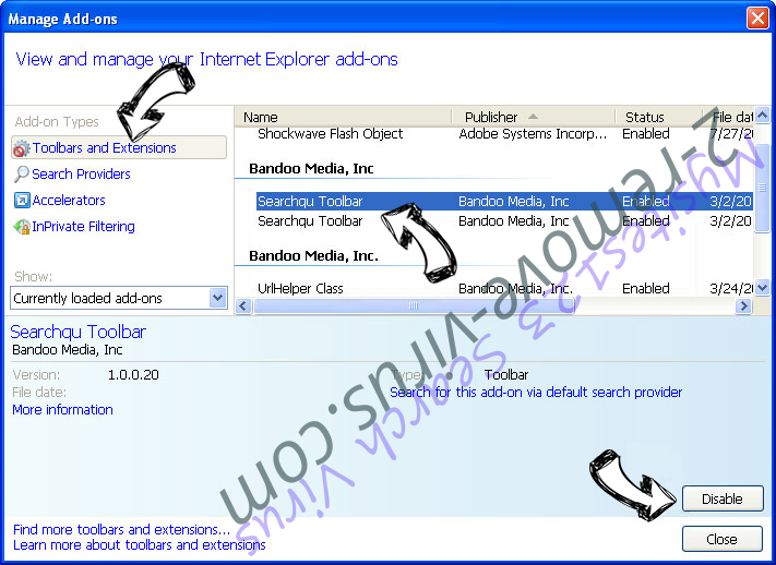 Search.searchltto.com IE toolbars and extensions