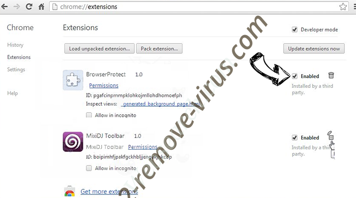Cack.me pop-up virus Chrome extensions disable