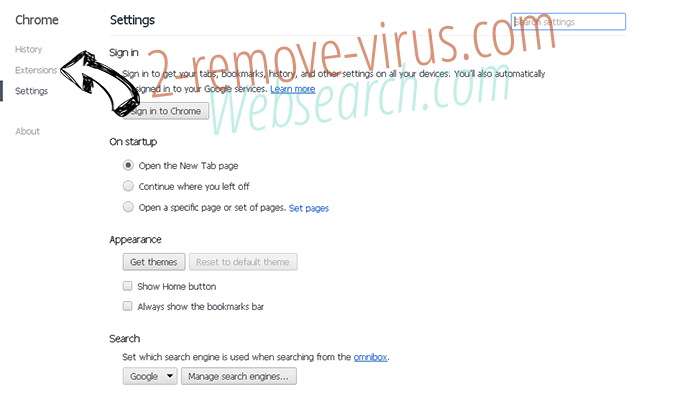 Cack.me pop-up virus Chrome settings