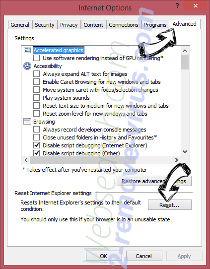 Cack.me pop-up virus IE reset browser