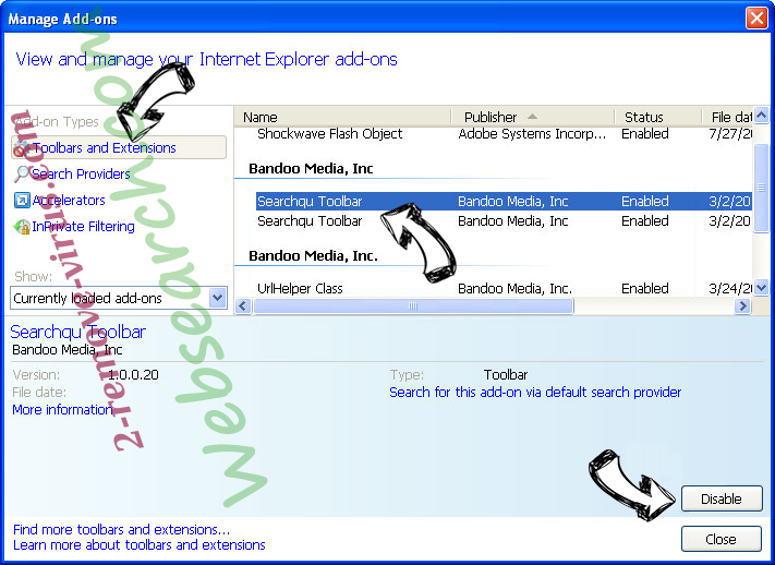 Websearch.com IE toolbars and extensions