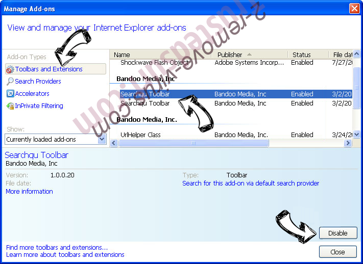 Str-Search Virus IE toolbars and extensions