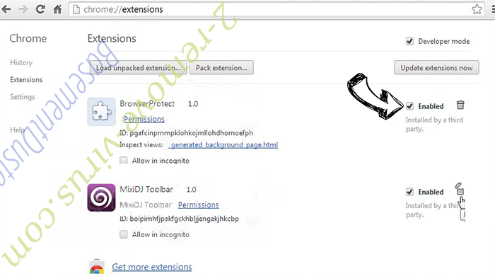Search.shelfsick.com entfernen Chrome extensions disable