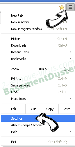 Search.abclauncher.com Chrome menu