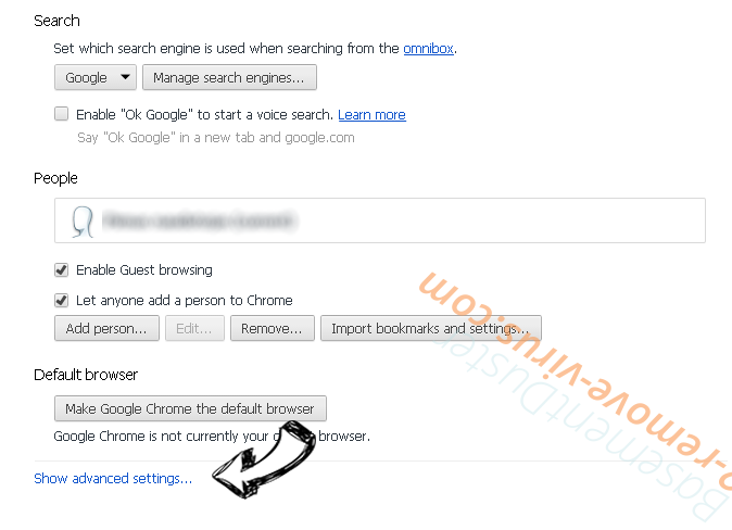Search.abclauncher.com Chrome settings more