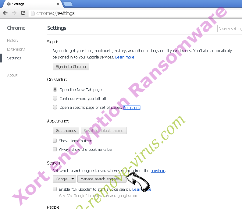 Xort encryption Ransomware Chrome extensions disable