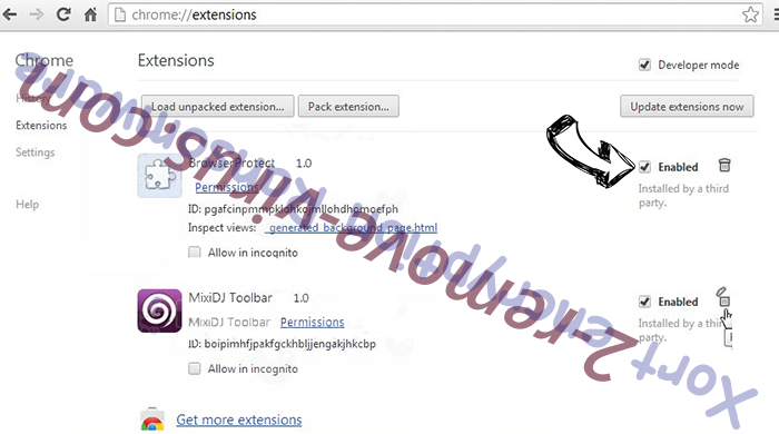 Refrebrepheon.info Chrome extensions disable