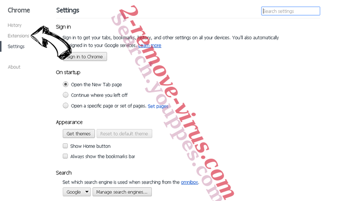 Eliminar Fake Google Antivirus Alert Chrome settings