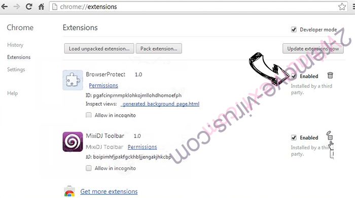 Удаление Ibyscus.com Chrome extensions disable
