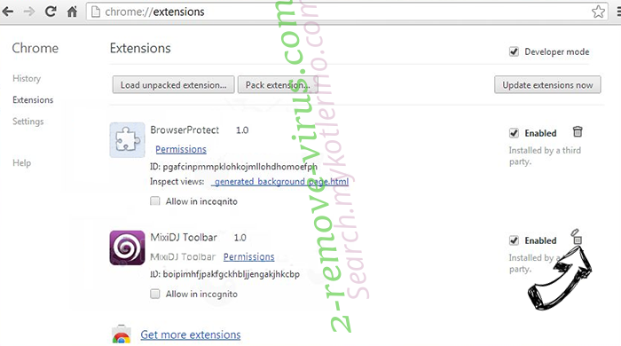 Удаление Piesearch virus Chrome extensions remove