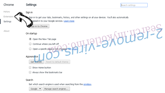Piesearch virus entfernen Chrome settings