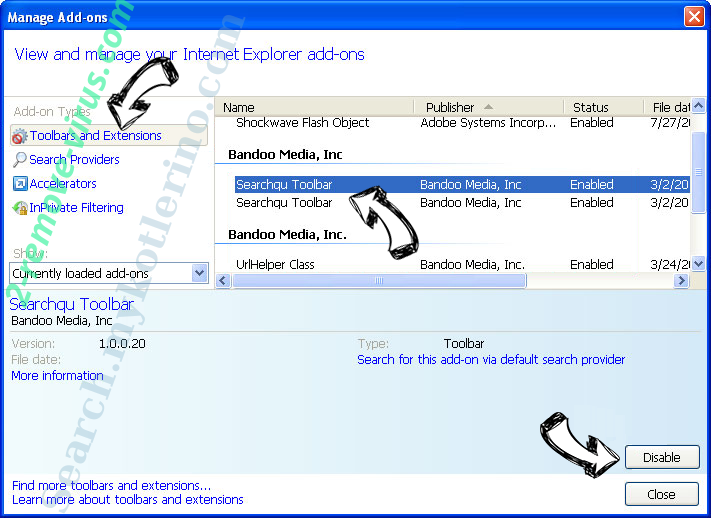 Piesearch virus entfernen IE toolbars and extensions
