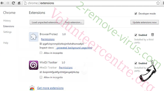 Volunteercentre.org Chrome extensions remove