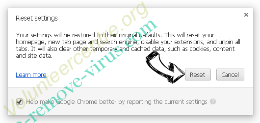 Volunteercentre.org Chrome reset