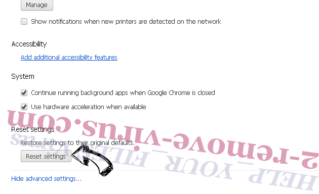 Checkmailsnow.net Chrome advanced menu