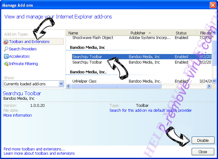 Paycrypt Virus IE toolbars and extensions