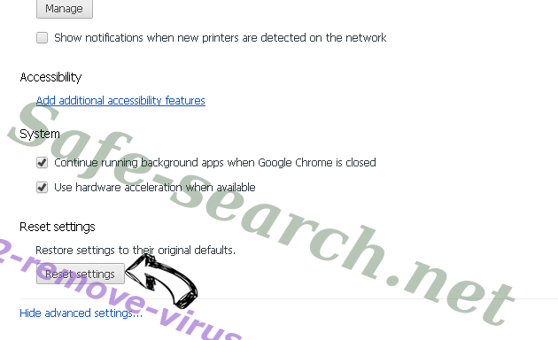 Safe-search.net Chrome advanced menu