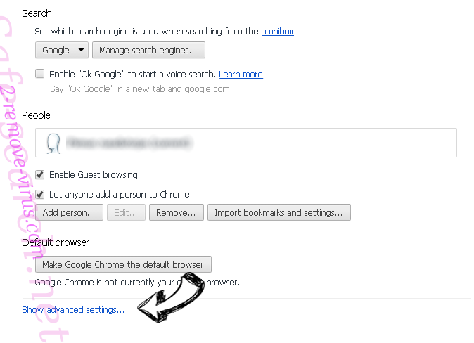 Search.searchtsbn.com Chrome settings more