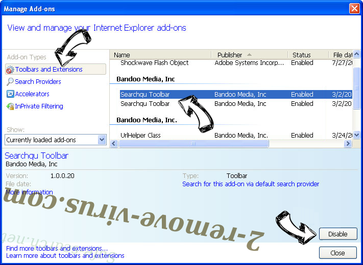 Search.privacy-search.net IE toolbars and extensions