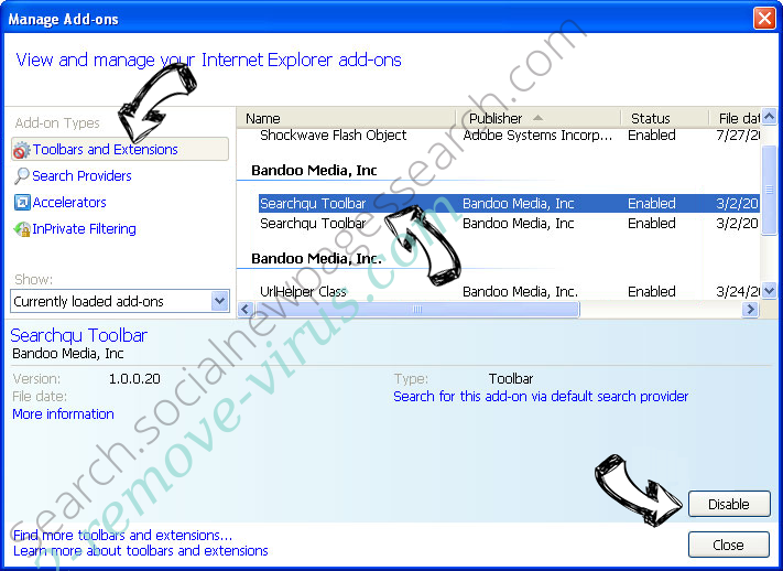 Search.searchtcn.com IE toolbars and extensions