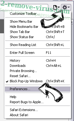 Privatesearch.net Safari menu