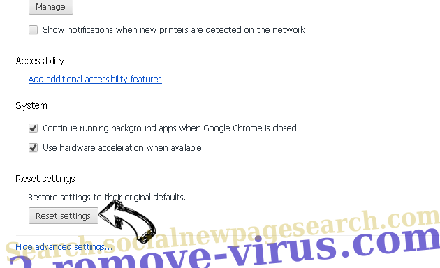 Bargains virus Chrome advanced menu