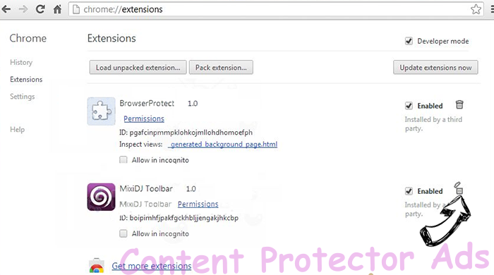 Content Protector Ads Chrome extensions remove