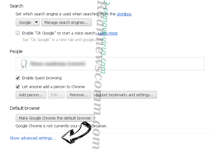 Searchwho.com Chrome settings more