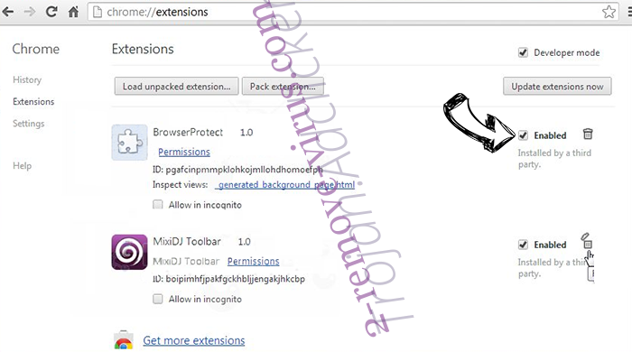 PirvateSearch extension Chrome extensions disable