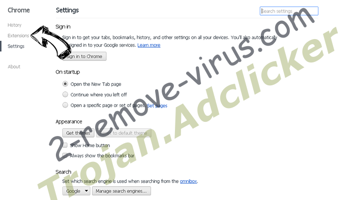 Trojan.Adclicker Chrome settings