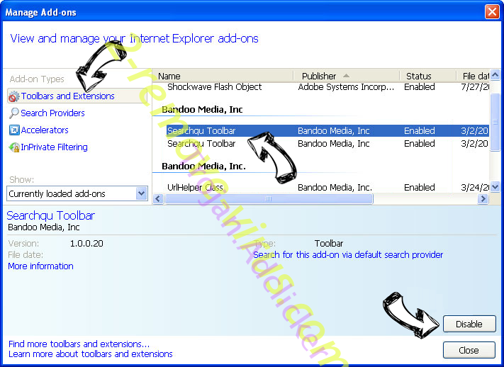 PirvateSearch extension IE toolbars and extensions