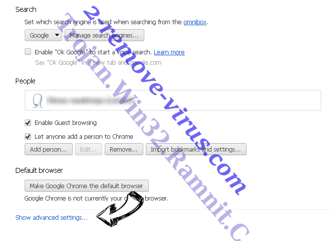 StartSearch Chrome settings more