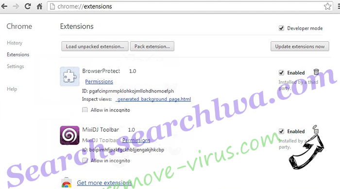 Searchlock3.com Chrome extensions remove
