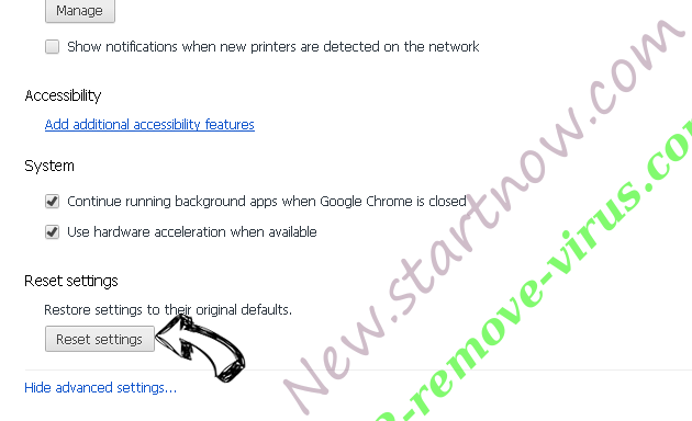 New.startnow.com Chrome advanced menu