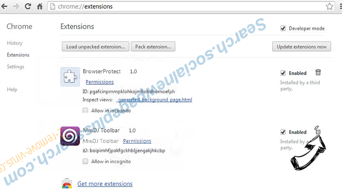 .crypt File Virus Chrome extensions remove