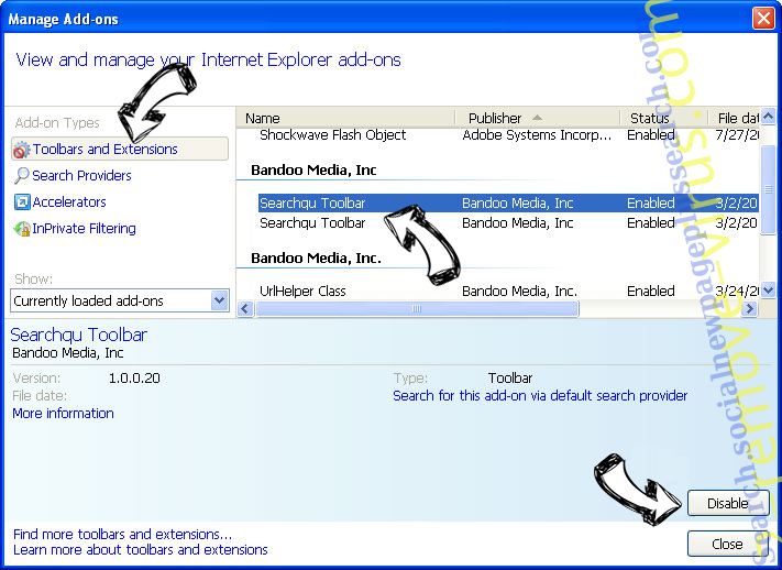 Searchtabnew.com IE toolbars and extensions