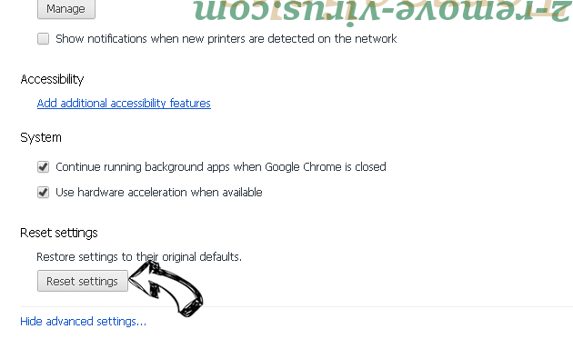 Tagonsearch.com Chrome advanced menu
