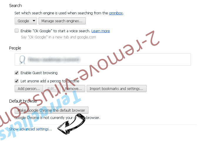 Search.youremailhub.com Chrome settings more