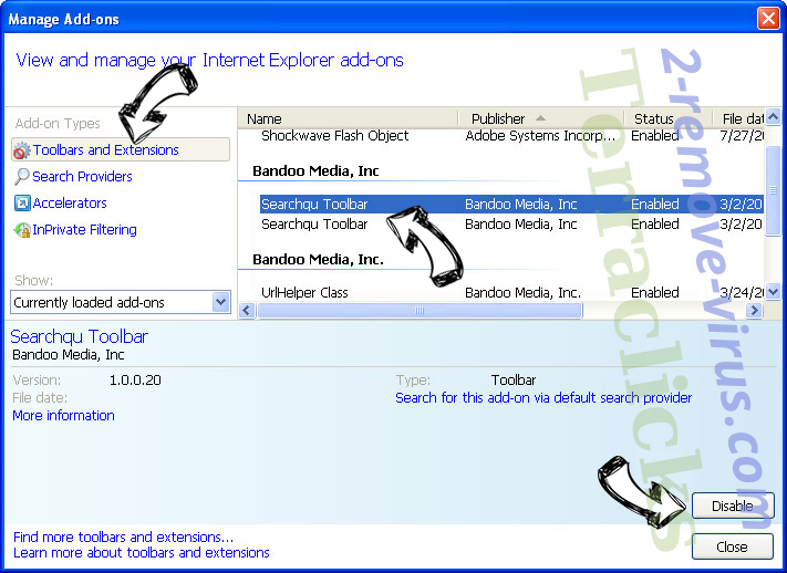 Mysearch24.com IE toolbars and extensions
