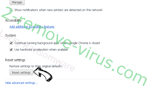 Locky Ransomware Chrome advanced menu