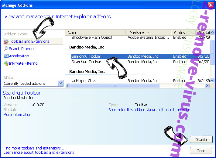 Startssearch.com virus IE toolbars and extensions