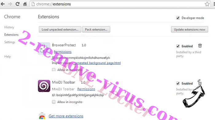Trackpackagehome.com verwijderen Chrome extensions remove