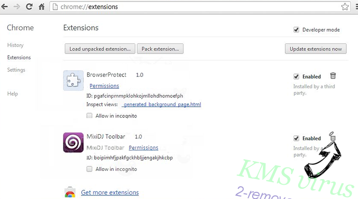 KMS virus Chrome extensions remove