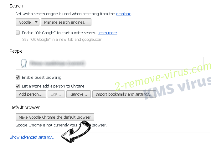 KMS virus Chrome settings more